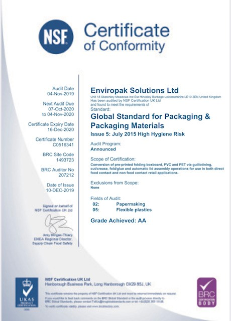 Enviropak Solutions are excited to announce we are now a BRC accredited supplier achieving an AA standard!
